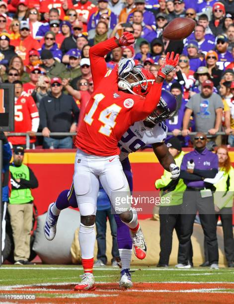 Cornerback Xavier Rhodes of the Minnesota Vikings brakes up a pass in the end zone intended for wide receiver Sammy Watkins of the Kansas City Chiefs...