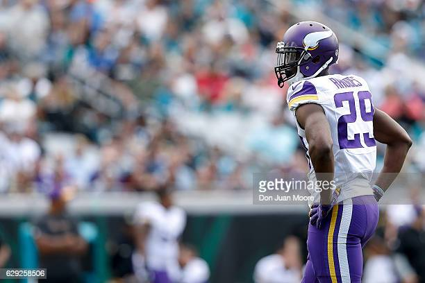 Cornerback Xavier Rhodes of the Minnesota Vikings during the game against the Jacksonville Jaguars at EverBank Field on December 11 2016 in...