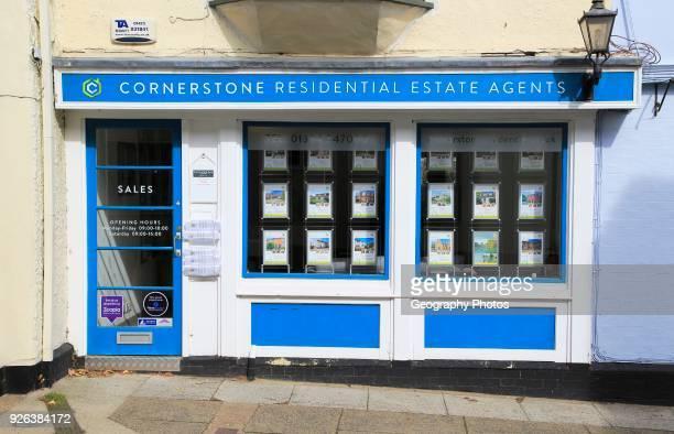 Cornerstone estate agent shop window Market Hill Woodbridge Suffolk England UK