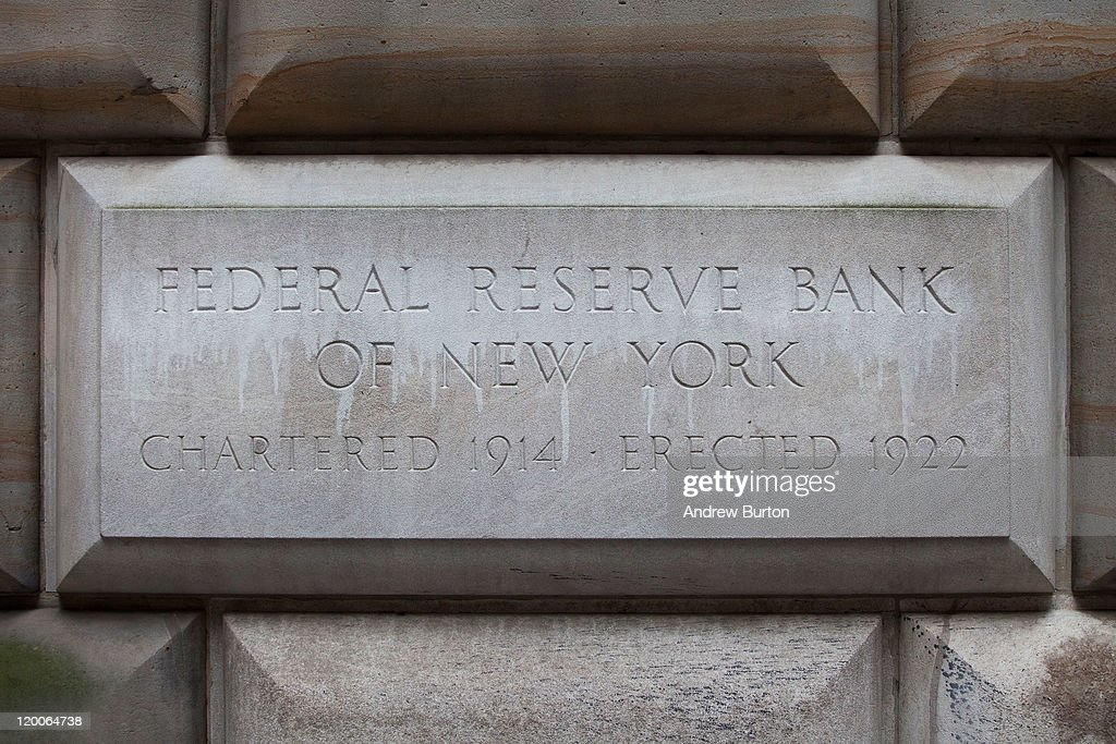 A cornerstone in the Federal Reserve Bank of New York building is seen on July 29, 2011 in New York City. Bankers and economists were invited to meet with Treasury Department officials at the bank today to discuss the on-going debt-limit crisis and how it could effect markets.