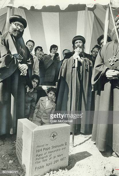 Cornerstone of first Coptic Orthodox church in North America is blessed by Shenouda III Pope of Alexandria and Patriarch of the See of St Mark the...