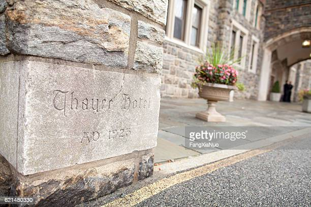Cornerstone of historic Thayer Hotel at West Point