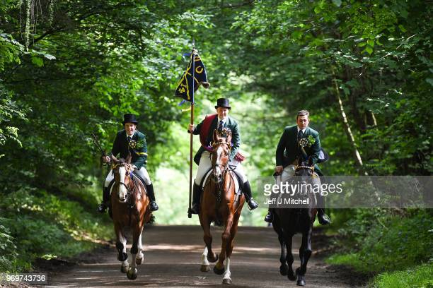 Cornet Gareth James Renwick gallops up the chase on the Nipknowes during the CommonRiding on June 8 2018 in Hawick Scotland Hawick Common Riding is...