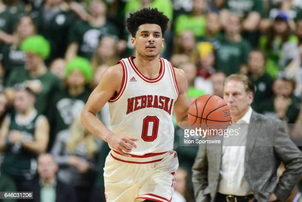 Cornhuskers guard Tai Webster runs the ball up the floor during a Big Ten Conference college basketball game between Michigan State and Nebraska on...