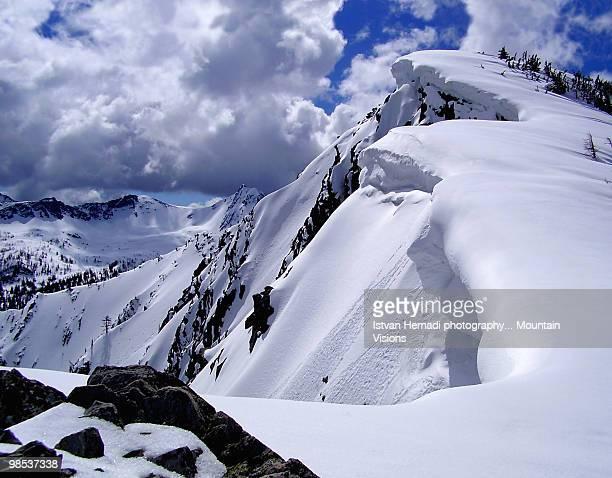 Corniced snowy ridge in the Rockies