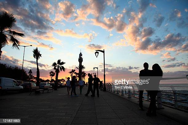 corniche at sunset, beirut, lebanon - beirut stock pictures, royalty-free photos & images