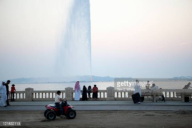 Corniche at sunset with King Fahd's Fountain, Jeddah, Saudi Arabia, Middle east