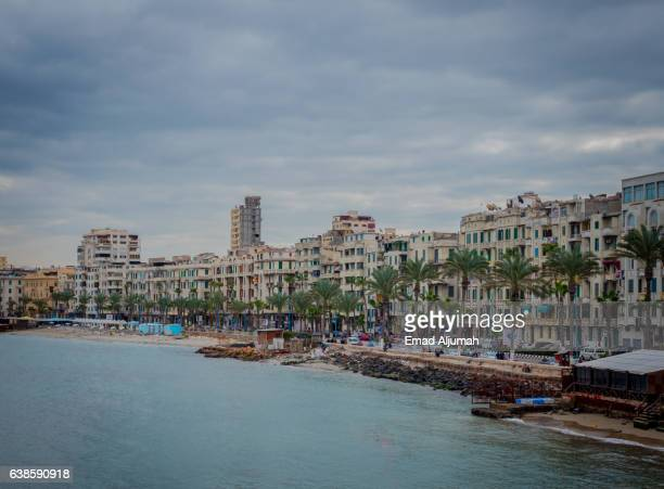 Corniche Road along the Mediterranean Seashore of Alexandria, Egypt