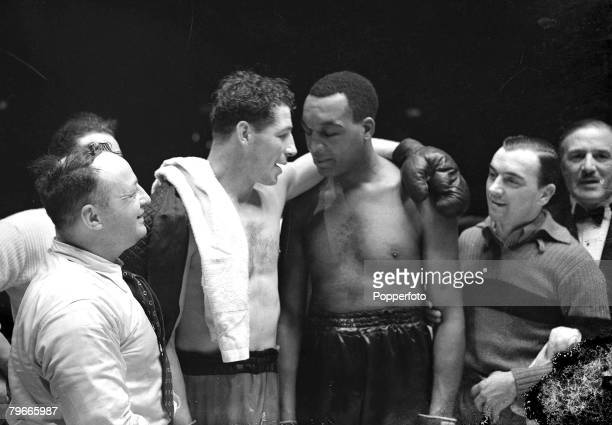 Boxing 16th March 1939 Harringay Arena London Len Harvey consoles Canadian Larry gains who retired in the 13th round of their heavyweight British and...