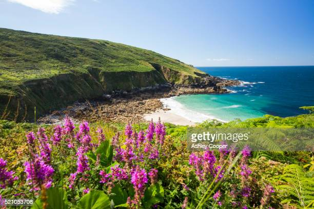 cornish coastal scenery at porthmeor cove near zennor, uk - bay of water stock pictures, royalty-free photos & images