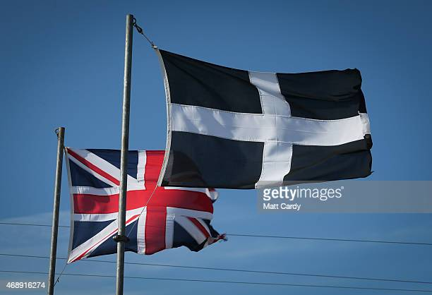 Cornish flag flutters besides a Union flag at Geevor Tin Mine near St Ives on April 8 2015 in Cornwall England Prime Minister David Cameron has said...
