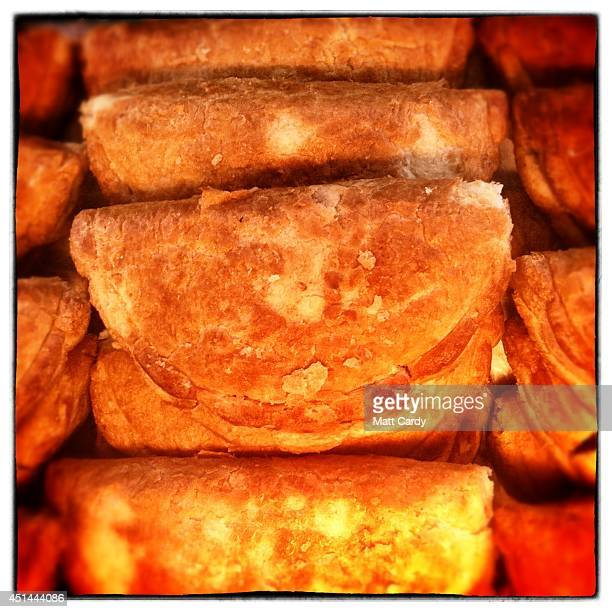 Cornish pasties from the Cornish Pasty Food Stall available for £3 each at the Glastonbury Festival at Worthy Farm on June 29, 2014 in Glastonbury,...