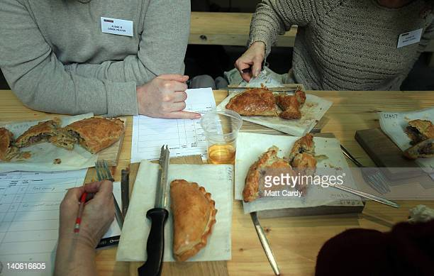 Cornish pasties that have been baked as part of the World Cornish Pasty Championships at The Eden Project are judged on March 3 2012 in St Austell...