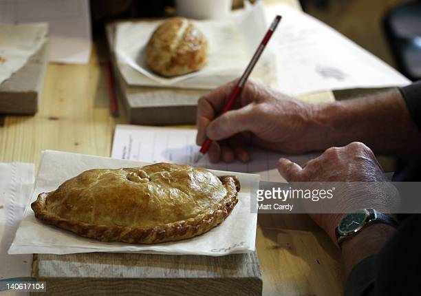 Cornish pasty that has been baked as part of the World Cornish Pasty Championships at The Eden Project is judged on March 3, 2012 in St Austell,...