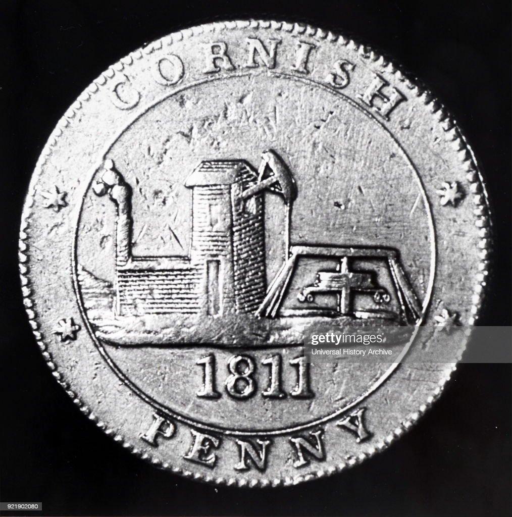 Cornish Penny depicting a Cornish mine. Dated 19th century.