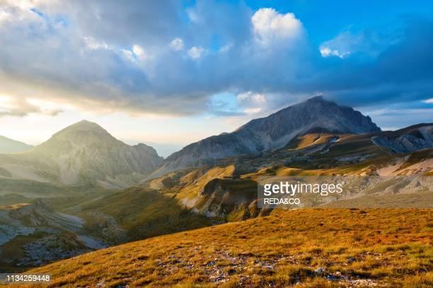 Corno Grande peak at sunset. Gran Sasso e Monti della Laga National Park. Abruzzo. Italy.