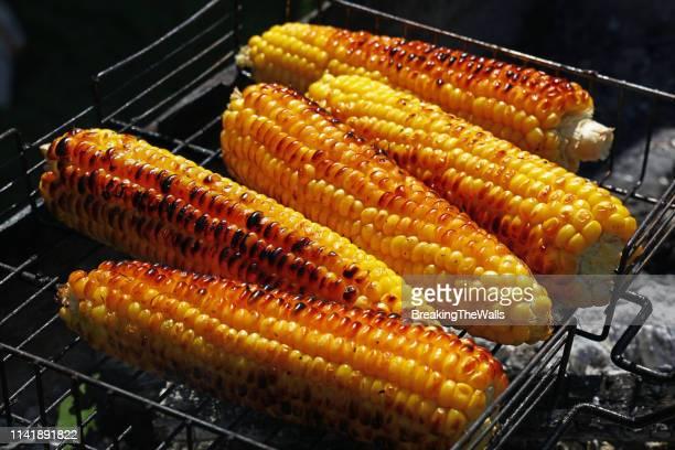 corns of barbecue grill - 調理方法 ストックフォトと画像