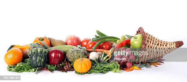 cornucopia with fresh fruits and vegetables isolated on white - happy thanksgiving banner stock pictures, royalty-free photos & images