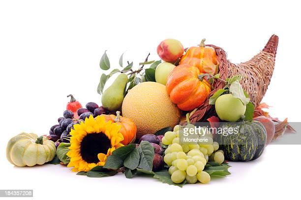 Cornucopia with pumpkins and fruits