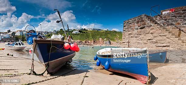 Cornwall fishing boats sandy beach bay harbor summer panorama UK