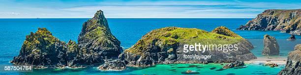cornwall idyllic summer ocean beach bay panorama kynance cove uk - peninsula stock pictures, royalty-free photos & images