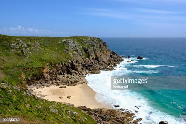 uk, cornwall, porthchapel beach near porthcurno - cornwall england stock pictures, royalty-free photos & images