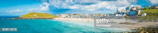 cornwall st ives porthmeor beach crowded with summer surfers - st. ives cornwall stock pictures, royalty-free photos & images