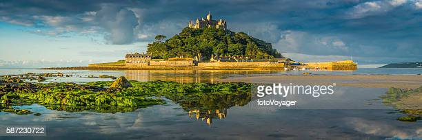 cornwall st michaels mount ocean island summer sunrise panorama uk - cornwall england stock pictures, royalty-free photos & images