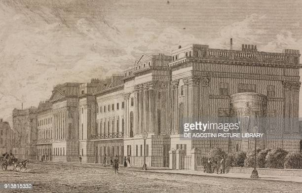 Cornwall Terrace Regent's Park London England United Kingdom engraving by Lemaitre from Angleterre Ecosse et Irlande Volume IV by Leon Galibert and...