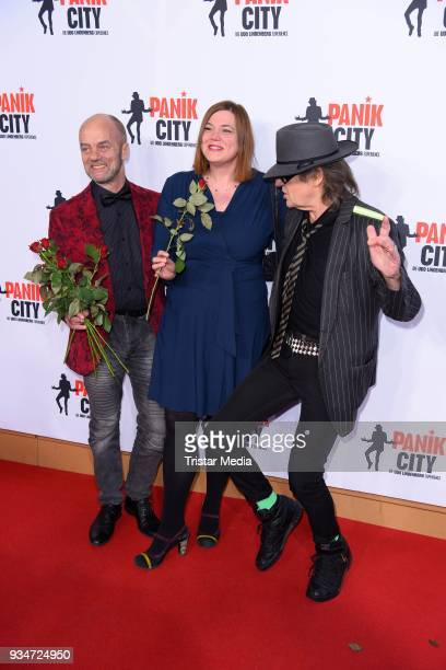 Corny Littmann Katharina Fegebank and Udo Lindenberg during the opening of the 'Udo Lindenberg Experience Panik City' on the Reeperbahn on March 19...