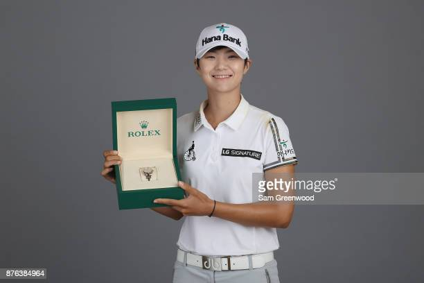 CoRolex Player of the Year Sung Hyun Park of Korea poses with a Rolex watch after the final round of the CME Group Tour Championship at the Tiburon...