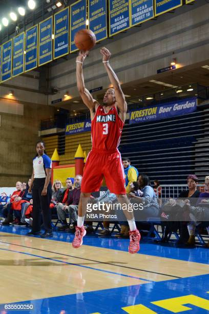 Coron Williams of the Maine Red Claws takes a shot during the game against the Delaware 87ers on February 14 2017 at the Bob Carpenter Center in...