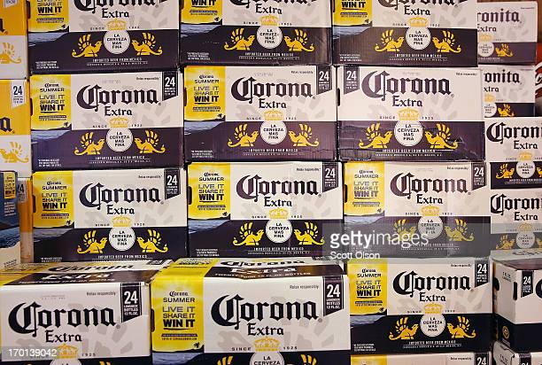 Corona beer is offered for sale at a liquor store on June 7 2013 in Chicago Illinois Constellation Brands one of the world's largest wine companies...