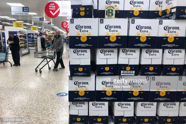 Corona beer is promoted at Tescos on April 28 2020 in Shoreham United Kingdom British Prime Minister Boris Johnson who returned to Downing Street...