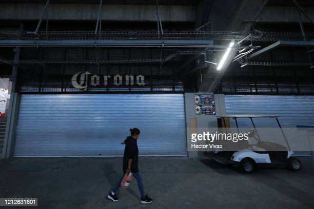 Corona beer store is seen closed during the 10th round match between America and Cruz Azul as part of the Torneo Clausura 2020 Liga MX at Azteca...