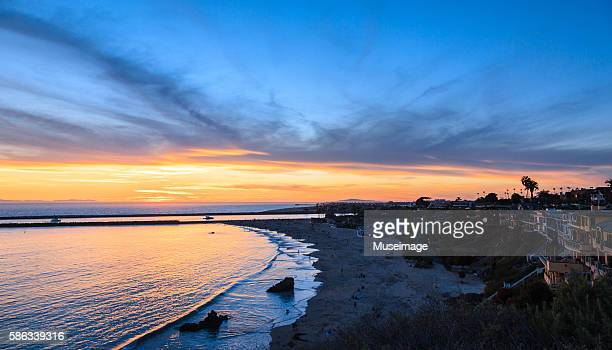 corona del mar state beach in sunset - newport beach stock pictures, royalty-free photos & images
