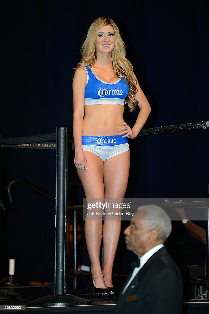 Corona girls pose as boxers Floyd Mayweather Jr. and Robert Guerrero weigh-in for their welterweight bout at the MGM Grand Garden Arena on May 3, 2013 in Las Vegas, Nevada. Mayweather will defend his WBC welterweight title against Guerrero.