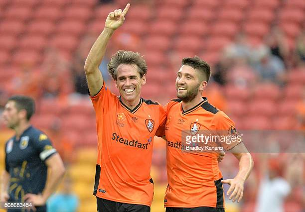 Corona of the Roar celebrates scoring a goal during the round 18 ALeague match between the Brisbane Roar and Central Coast Mariners at Suncorp...