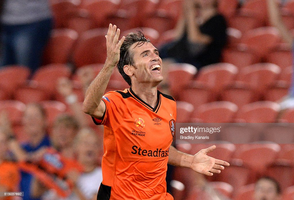 Corona of the Roar celebrates scoring a goal during the round 23 A-League match between the Brisbane Roar and Melbourne Victory at Suncorp Stadium on March 12, 2016 in Brisbane, Australia.