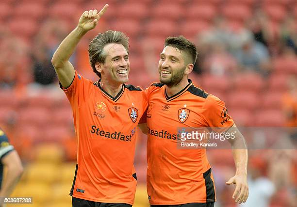 Corona of the Roar celebrates with Brandon Borrello after scoring a goal during the round 18 ALeague match between the Brisbane Roar and Central...