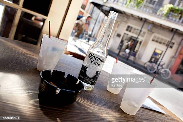 corona on a table - corona beer stock pictures, royalty-free photos & images