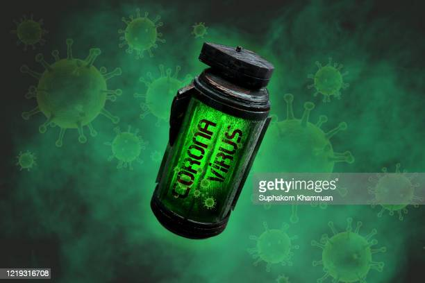 corona virus bomb. biological weapon. - weaponry stock pictures, royalty-free photos & images