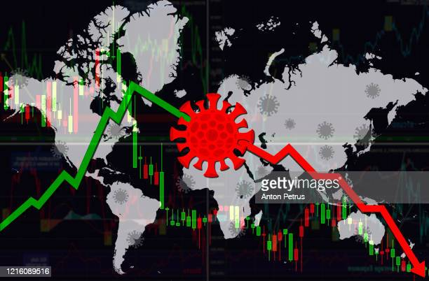 coronacrisis. world financial crisis concept. coronavirus on world map background - graphic accident photos stock pictures, royalty-free photos & images