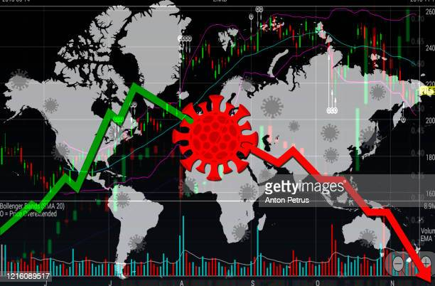coronacrisis. world financial crisis concept. coronavirus on world map background - collapsing stock pictures, royalty-free photos & images