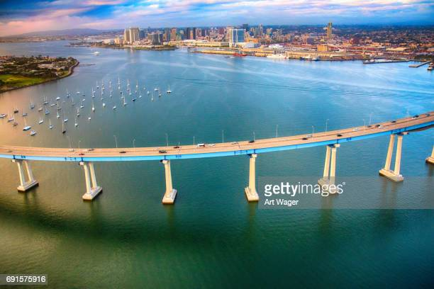 Coronado Bridge and Downtown San Diego California