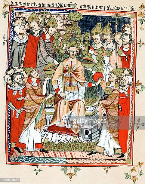Coronation and unction of a king 13th century The king depicted is probably Henry III of England who was crowned at Gloucester in 1216 and at...