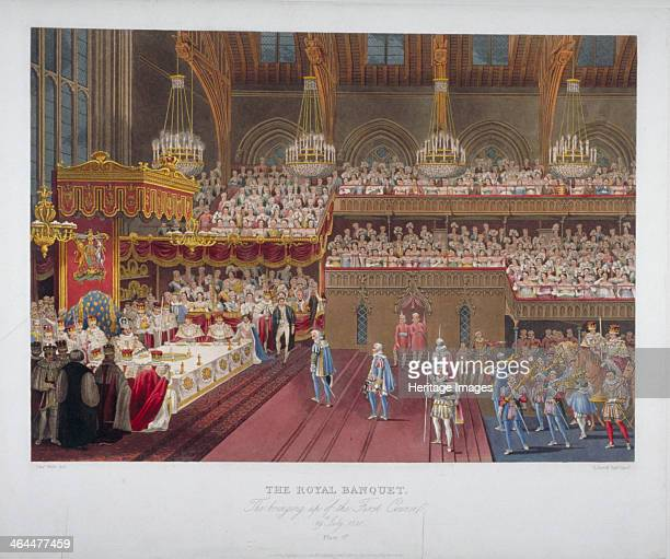 Coronation banquet of King George IV Westminster Hall London 1821 'The Royal Banquet The bringing up of the First Course'