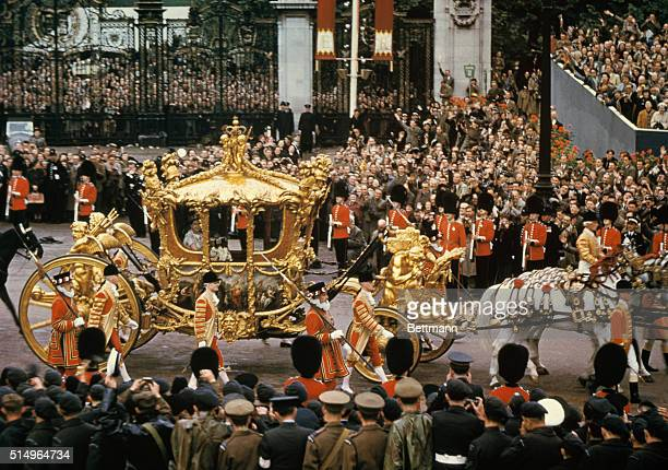 Coronation London England Queen Elizabeth just after the crowning