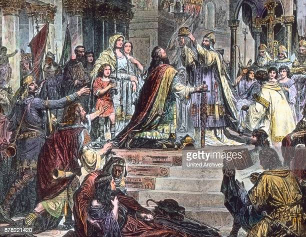 Coronation of Charlemagne by Pope Leo III on December 24th 800 at Rome illustration 1910s