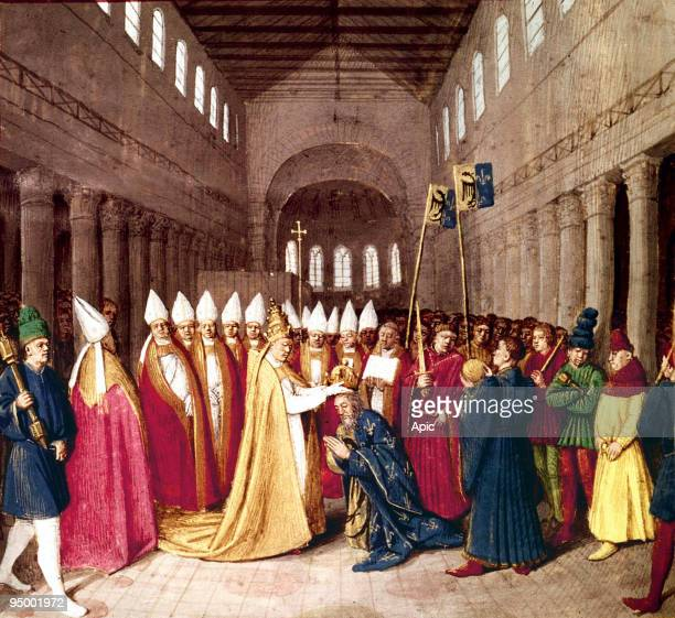 Coronation of emperor Charlemagne on december 25 800 in Rome by pope Leo III illumination from Grandes Chroniques de France by Jean Fouquet c 14551460